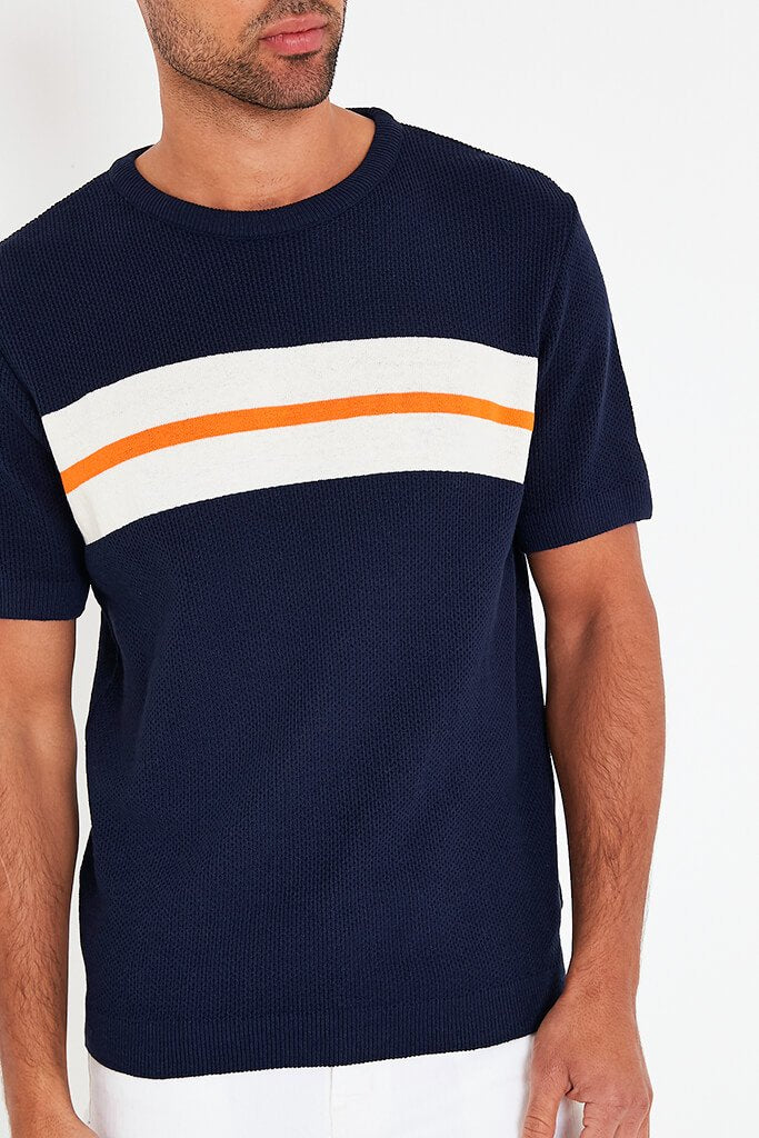 Navy Mens Colour Block Stripe Knitted T-Shirt view 4