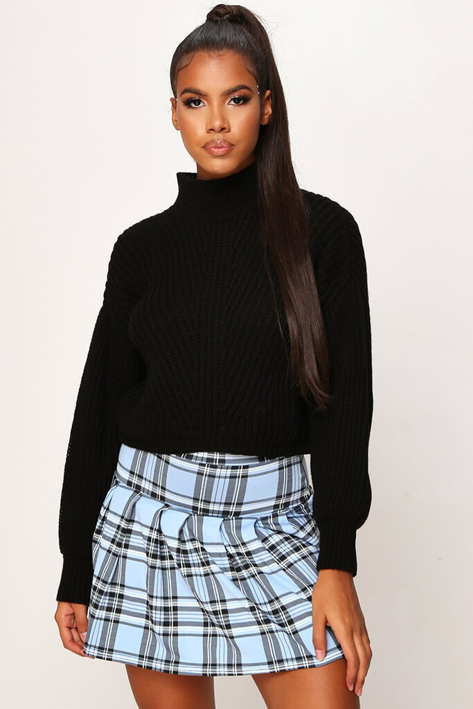 Black Crop High Neck Jumper