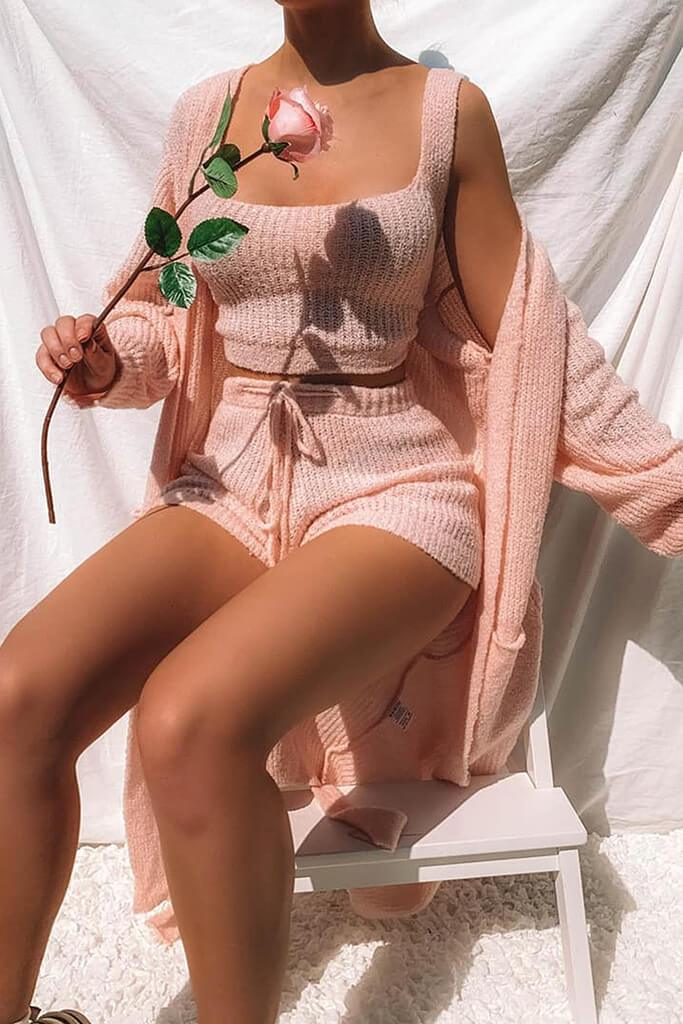 Baby Pink Cosy Knitted Short
