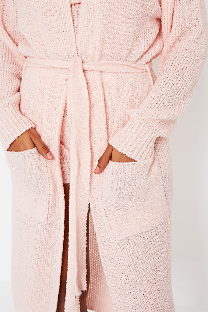 Baby pink cosy knitted belted cardigan