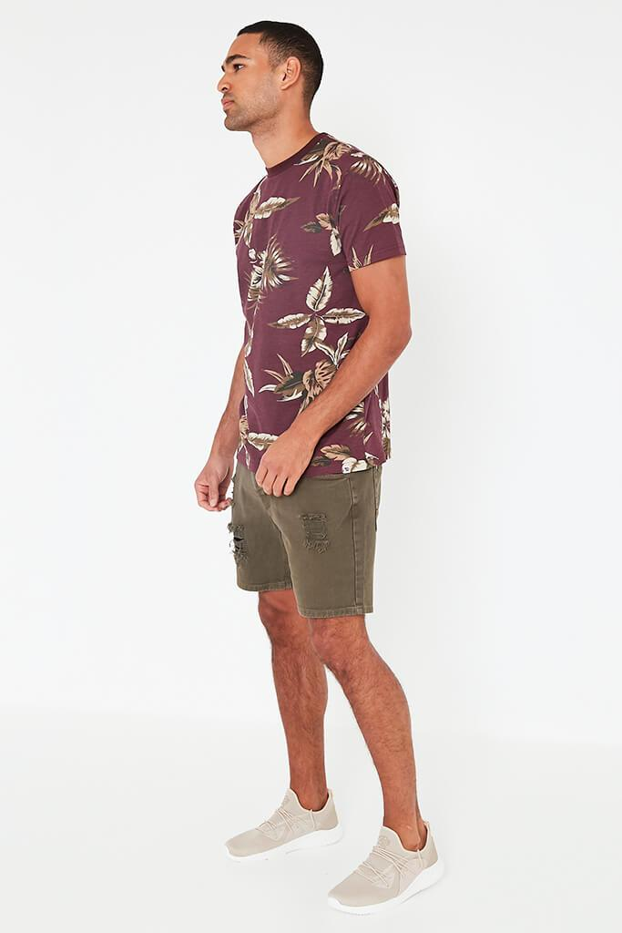 Wine Mens Leaf Printed T-Shirt view 2
