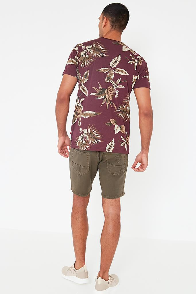 Wine Mens Leaf Printed T-Shirt view 4