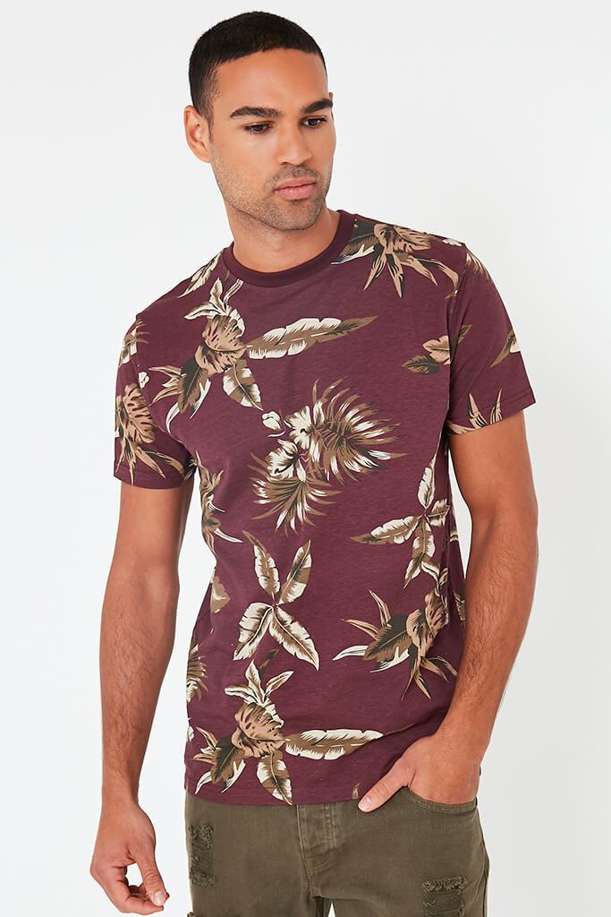 Wine Mens Leaf Printed T-Shirt