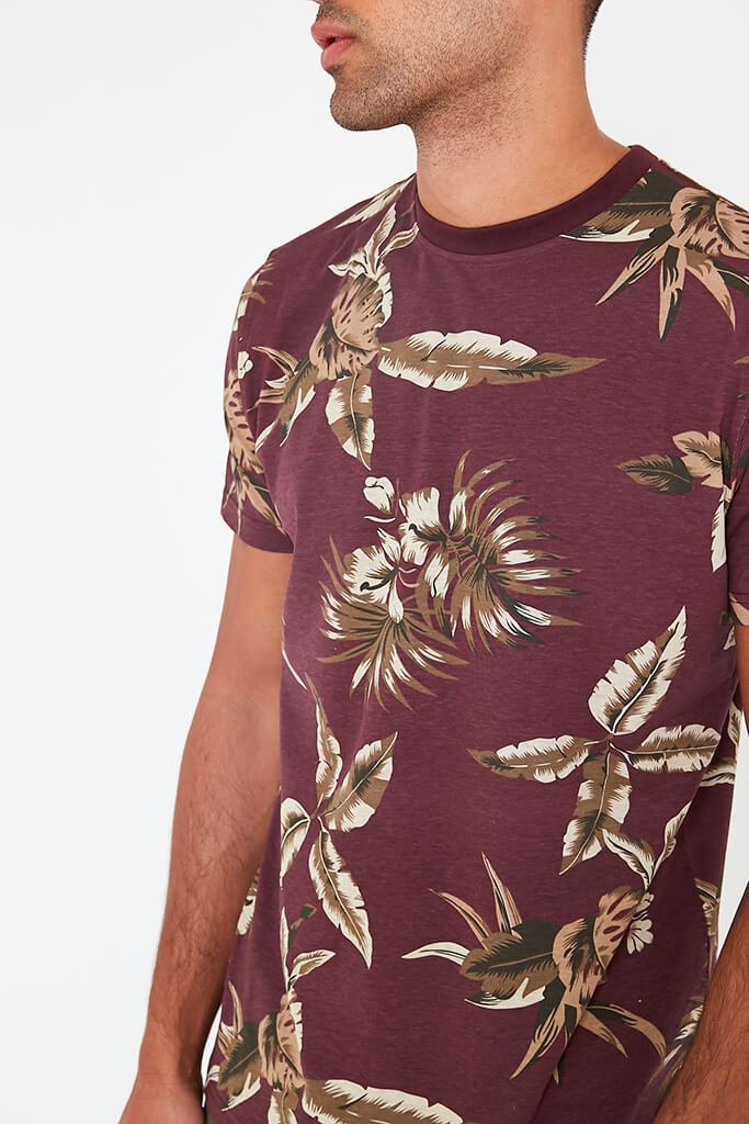 Wine Mens Leaf Printed T-Shirt view 3