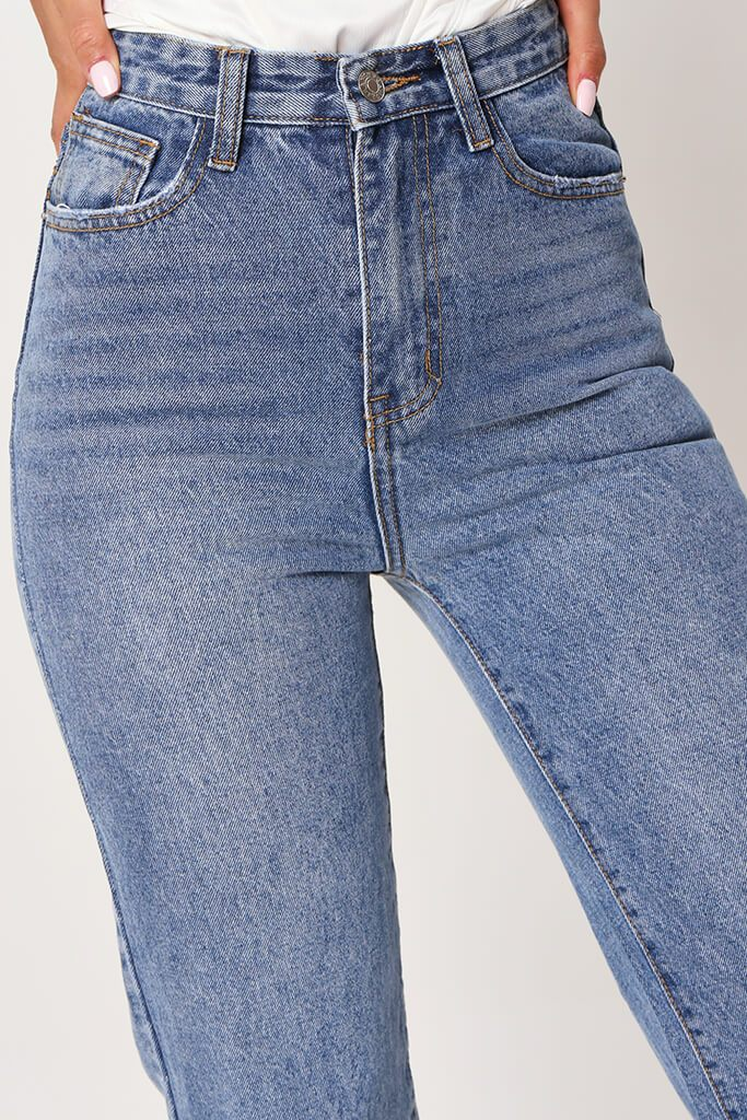 Mid Wash Straight Leg Jean With Knee Rip view 5