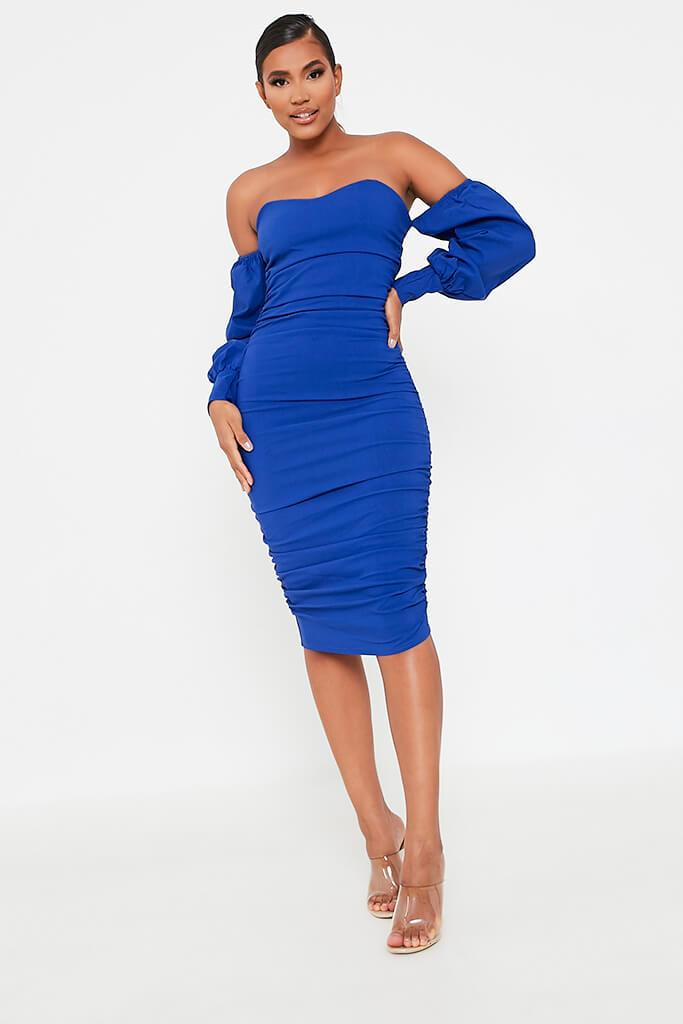 Cobalt Blue Bardot Long Sleeve Ruched Side Midi Dress view main view