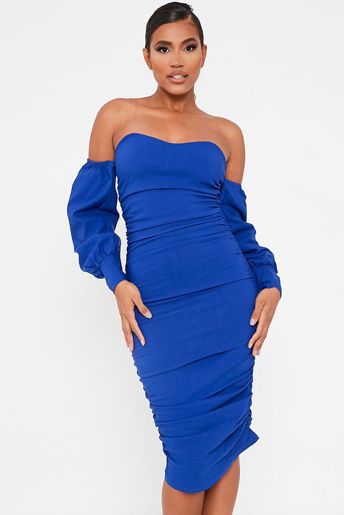 Cobalt Blue Bardot Long Sleeve Ruched Side Midi Dress view 2
