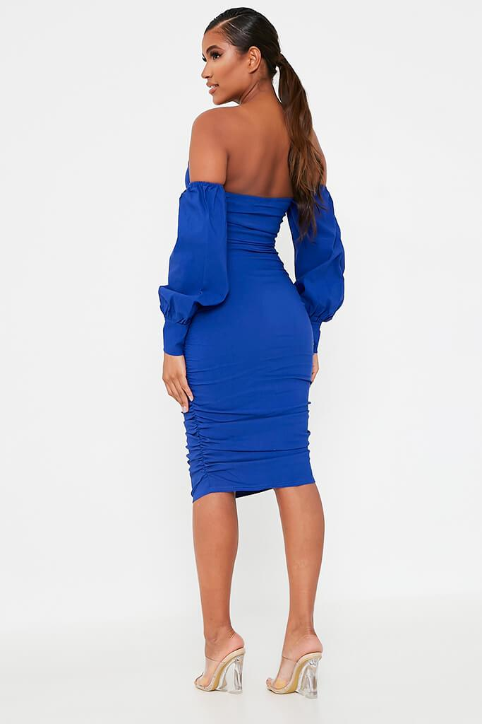 Cobalt Blue Bardot Long Sleeve Ruched Side Midi Dress view 5