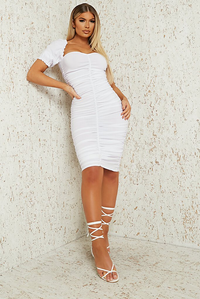 White Bengaline Ruched Front Puff Sleeve Midi Dress view 2