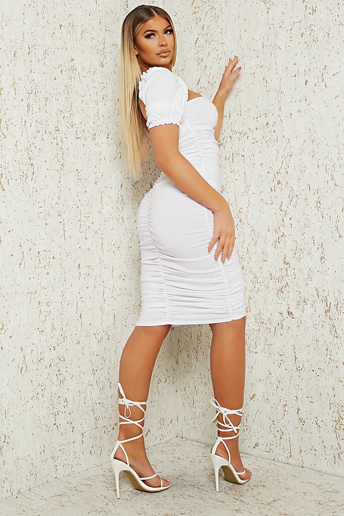 White Bengaline Ruched Front Puff Sleeve Midi Dress view 3