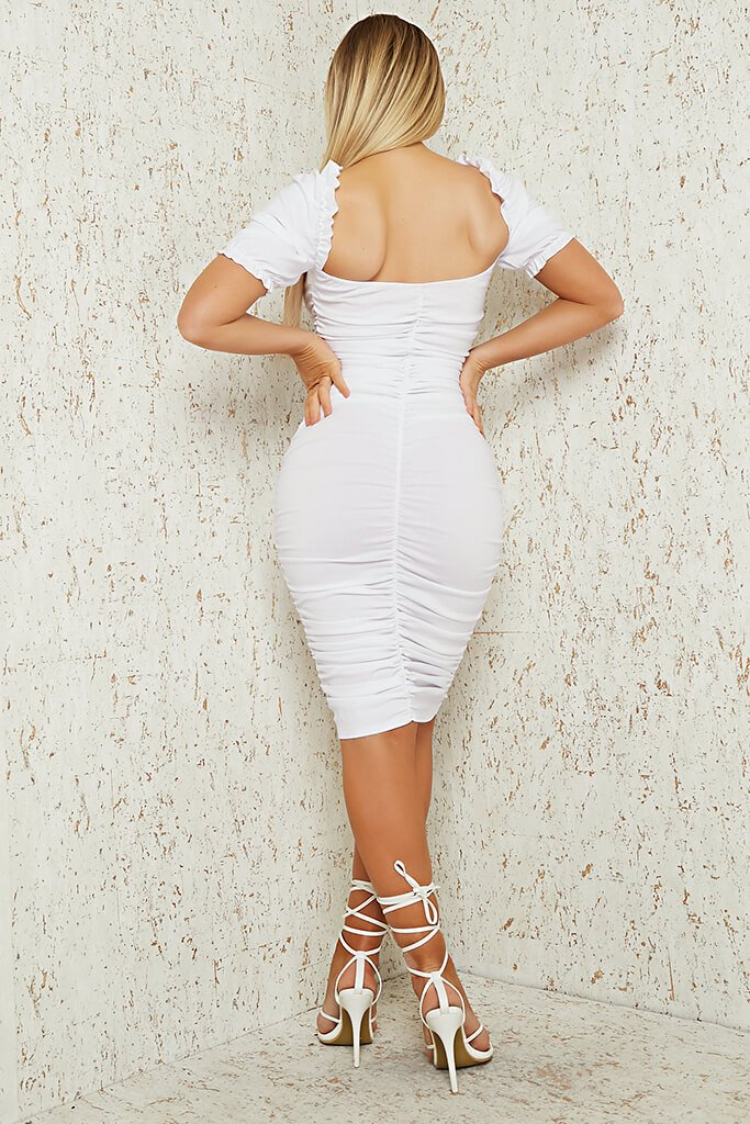 White Bengaline Ruched Front Puff Sleeve Midi Dress view 5