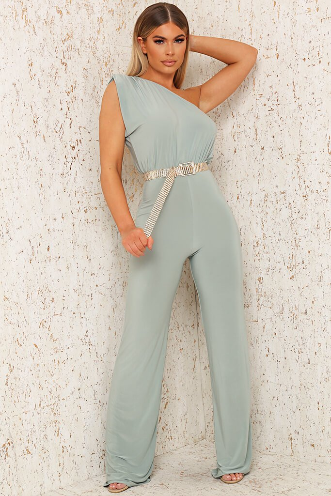 Sage One Shoulder Padded Slinky Wide Leg Jumpsuit view main view