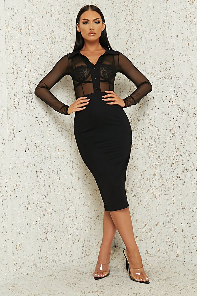 Black Mesh Button Front Midi Dress