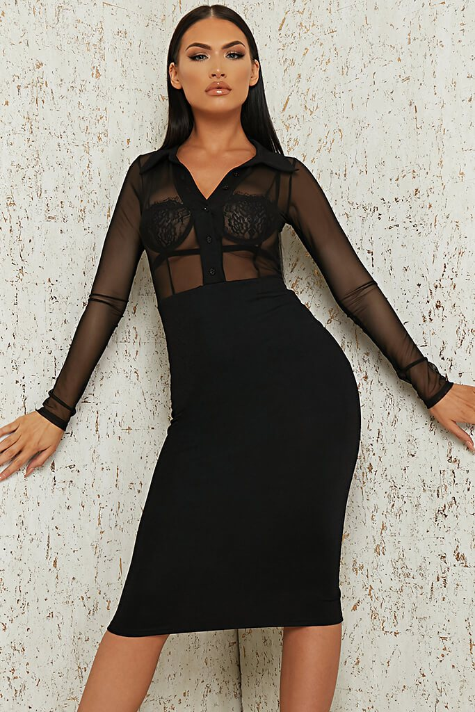 Black Mesh Button Front Midi Dress view 2