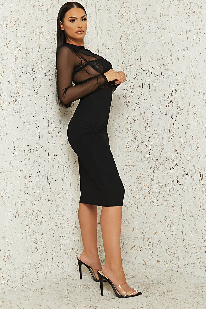 Black Mesh Button Front Midi Dress view 3