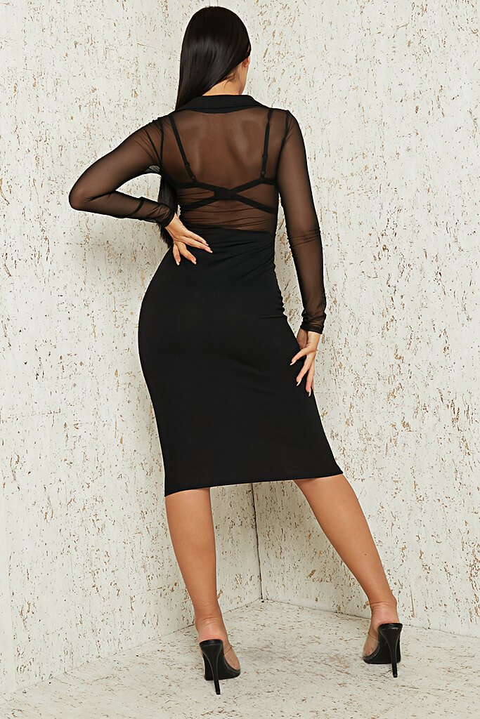 Black Mesh Button Front Midi Dress view 5