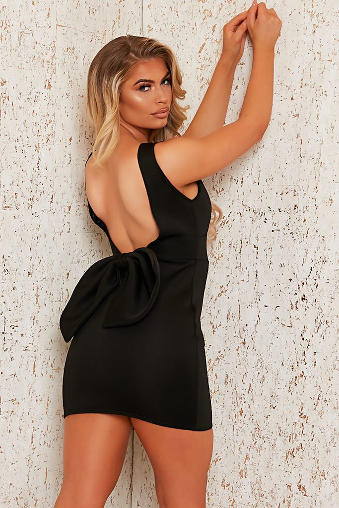 Black Scuba Plunge Bow Back Bodycon Dress