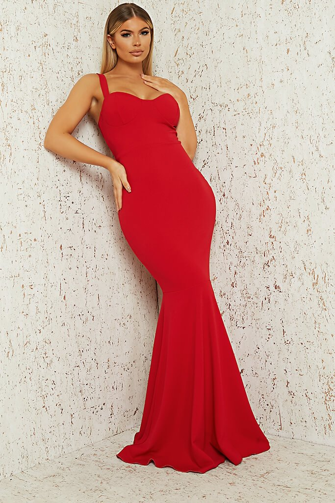 Red Cup Detail Fishtail Maxi Dress