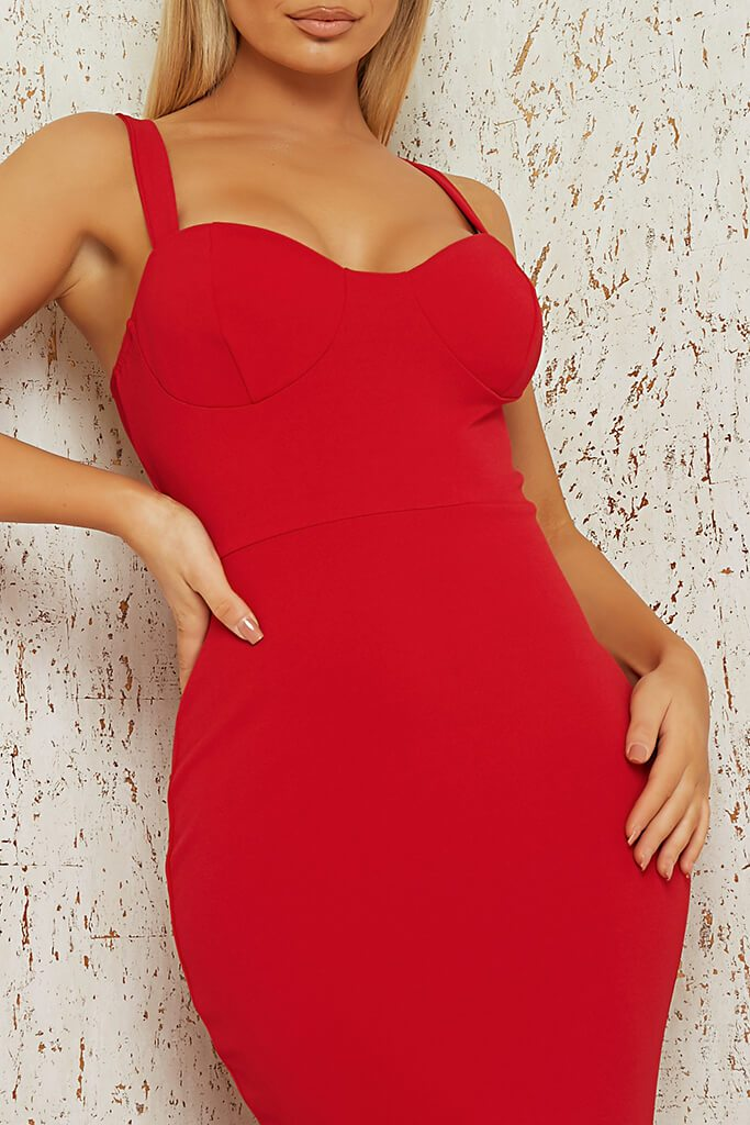 Red Cup Detail Fishtail Maxi Dress view 4
