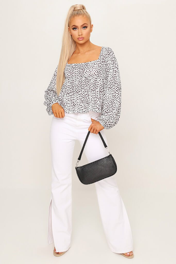 White Square Neck Balloon Sleeve Blouse view 2