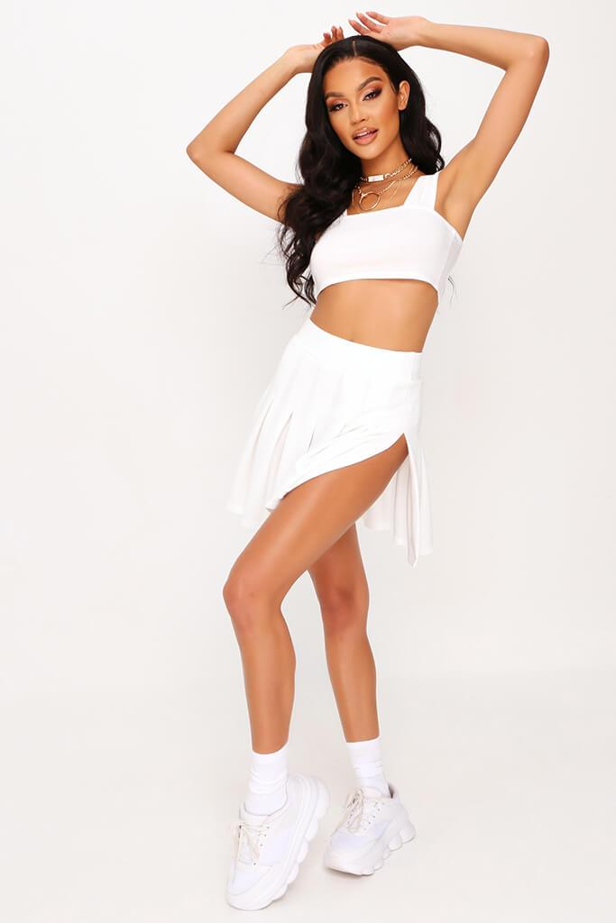 White Pleated Tennis Skirt view 2