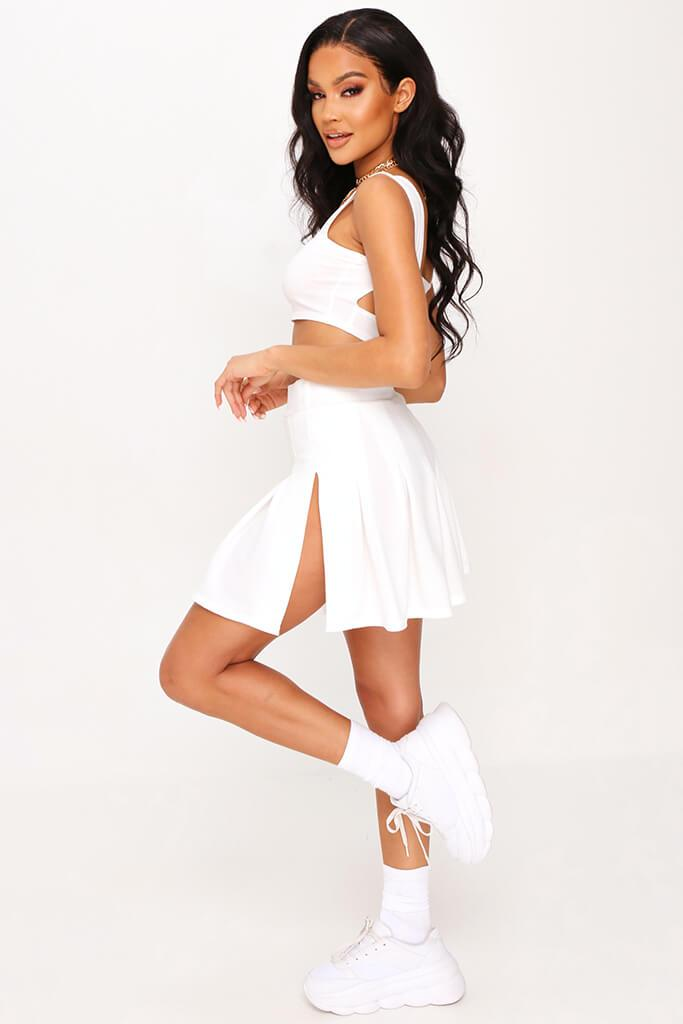 White Pleated Tennis Skirt view 3