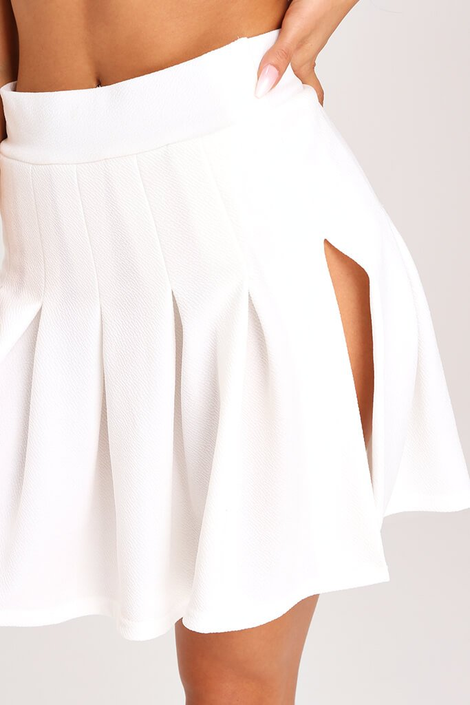White Pleated Tennis Skirt view 4