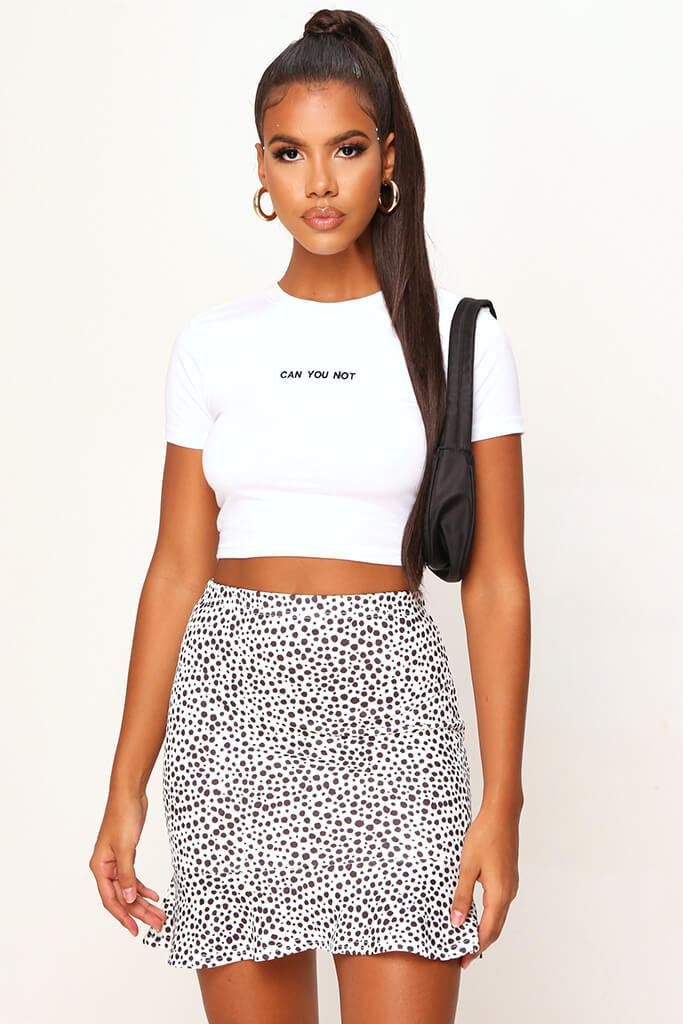Monochrome Spot Print Frill Hem Mini Skirt view main view