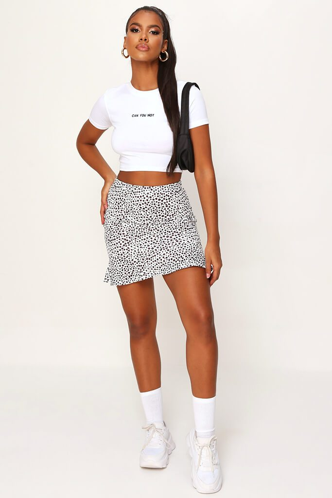 Monochrome Spot Print Frill Hem Mini Skirt view 2