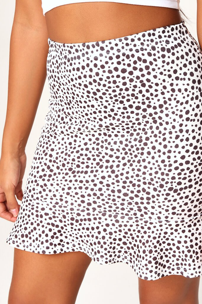 Monochrome Spot Print Frill Hem Mini Skirt view 4