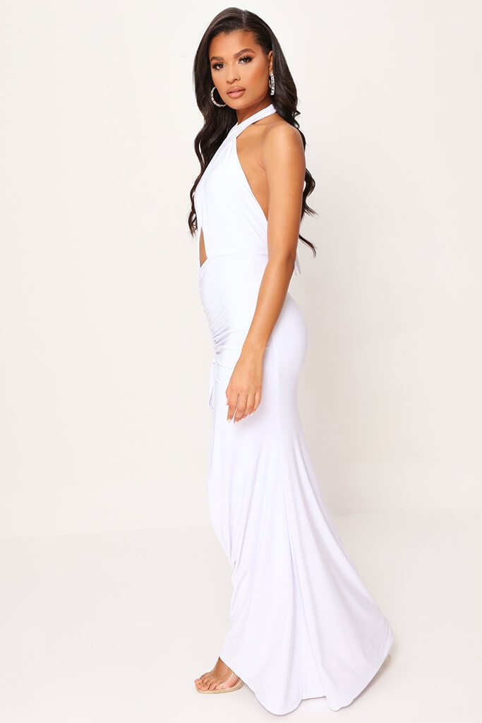 White Double Layer Cut Out Maxi Dress view 3