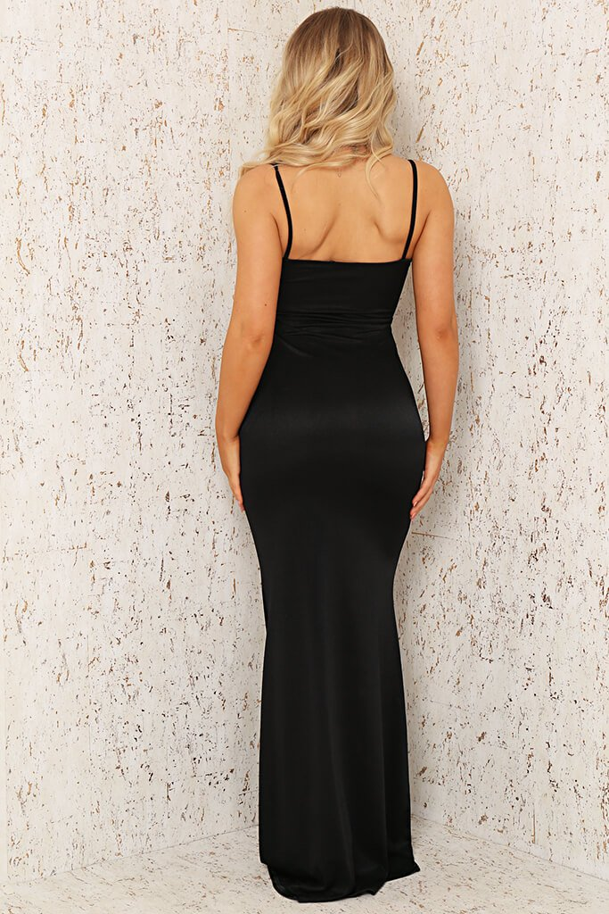 Black Satin Jersey Cami Twist Front Cut Out Maxi Dress view 5