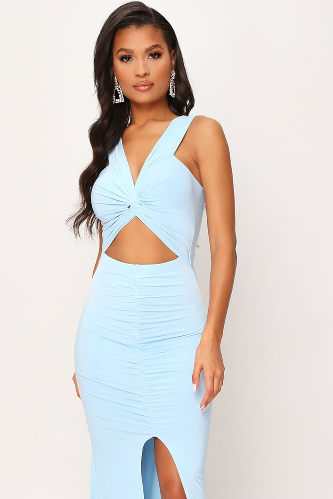 Baby Blue Double Layer Slinky Bardot Ruched Twist Front Cut Out Maxi Dress view 2