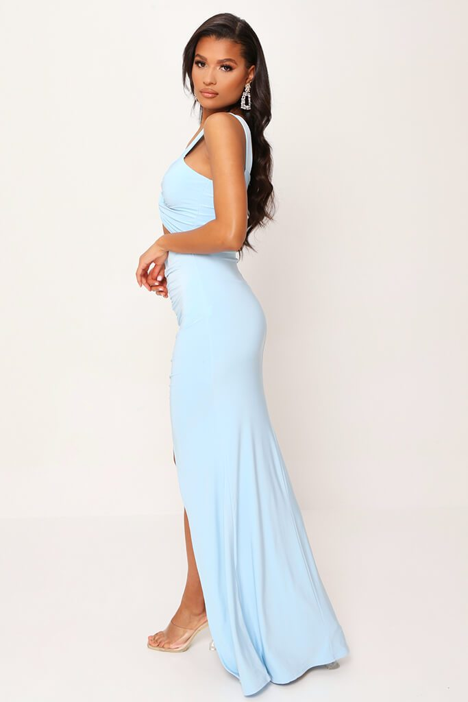Baby Blue Double Layer Slinky Bardot Ruched Twist Front Cut Out Maxi Dress view 3