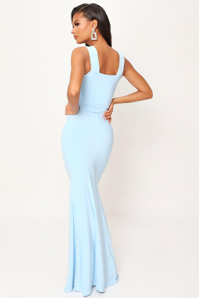 Baby Blue Double Layer Slinky Bardot Ruched Twist Front Cut Out Maxi Dress view 5