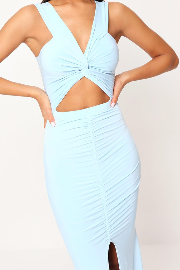 Baby Blue Double Layer Slinky Bardot Ruched Twist Front Cut Out Maxi Dress view 4