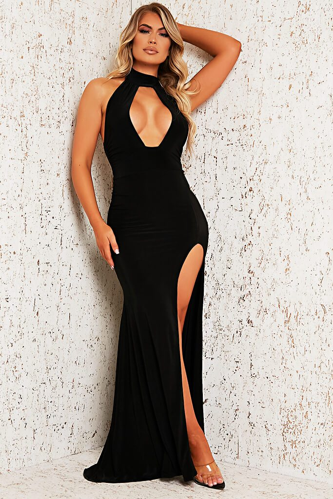 Black Double Layer Cut Out Maxi Dress