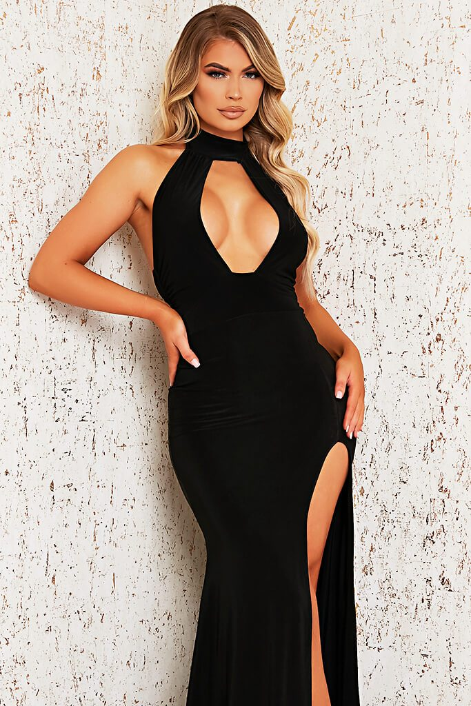 Black Double Layer Cut Out Maxi Dress view 2