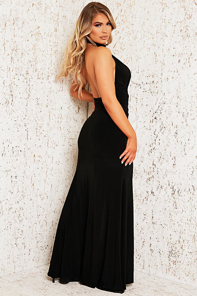 Black Double Layer Cut Out Maxi Dress view 3