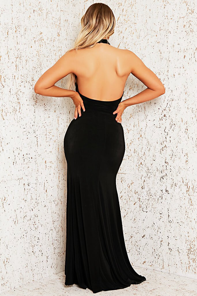 Black Double Layer Cut Out Maxi Dress view 5