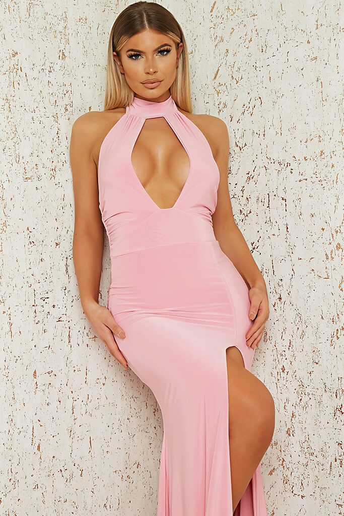 Baby Pink Slinky Halterneck Maxi Dress view 2