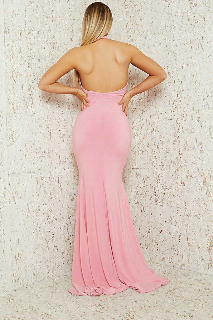 Baby Pink Slinky Halterneck Maxi Dress view 5