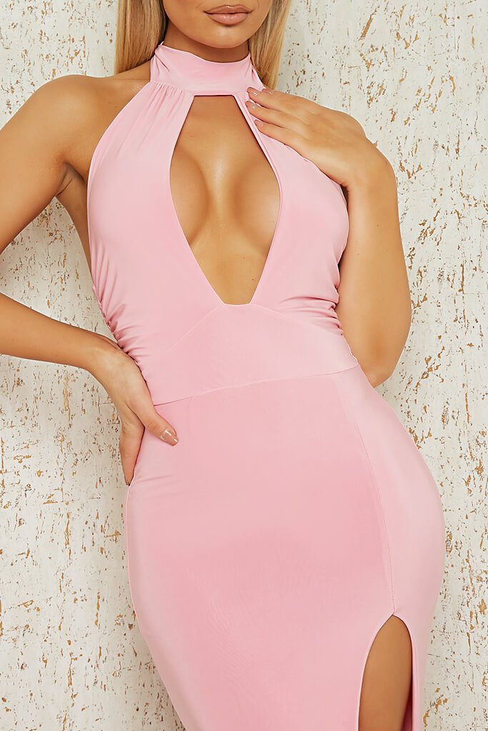 Baby Pink Slinky Halterneck Maxi Dress view 4