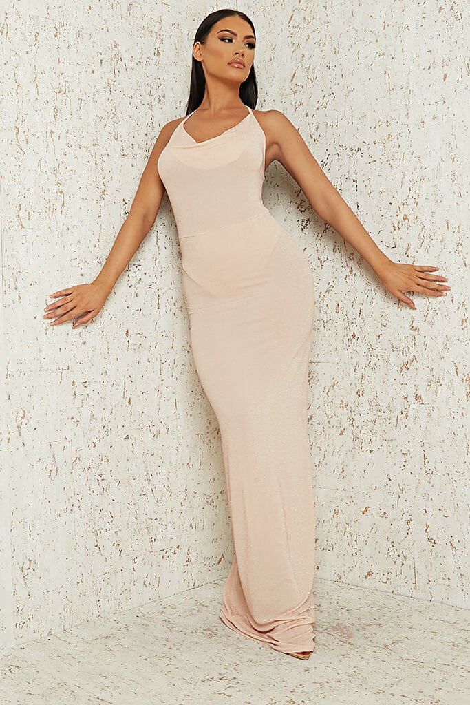 Nude Nude Cowl Neck Glitter Lurex Maxi Dress
