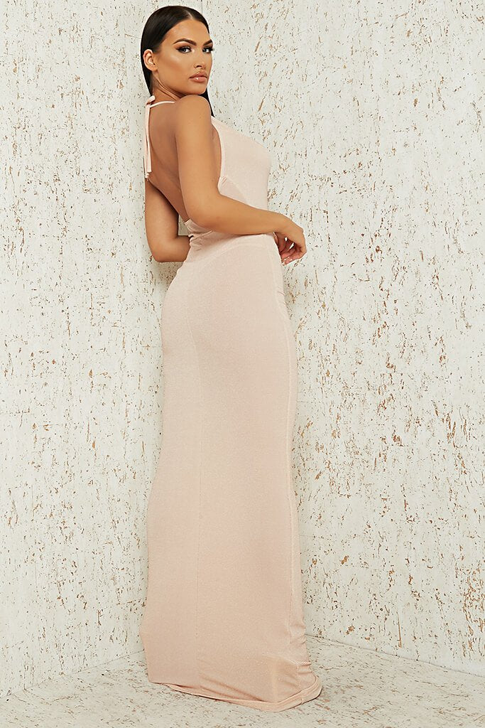 Nude Nude Cowl Neck Glitter Lurex Maxi Dress view 3