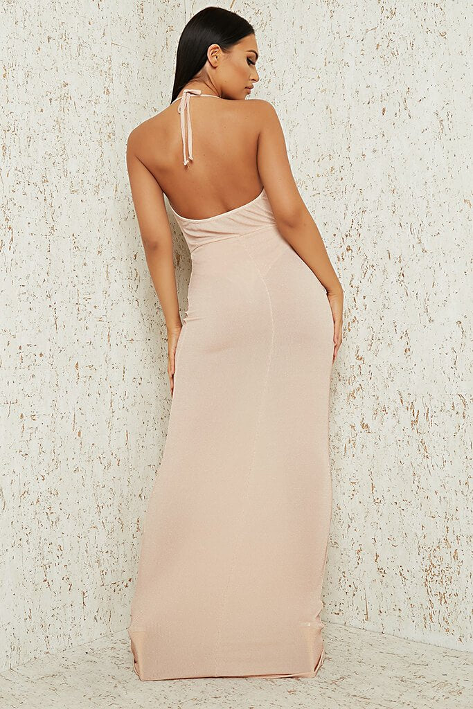 Nude Nude Cowl Neck Glitter Lurex Maxi Dress view 5