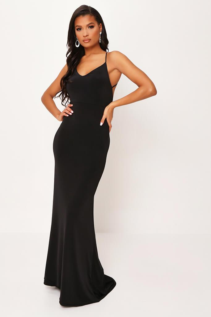 Black Cross Back Fishtail Maxi Dress view 5