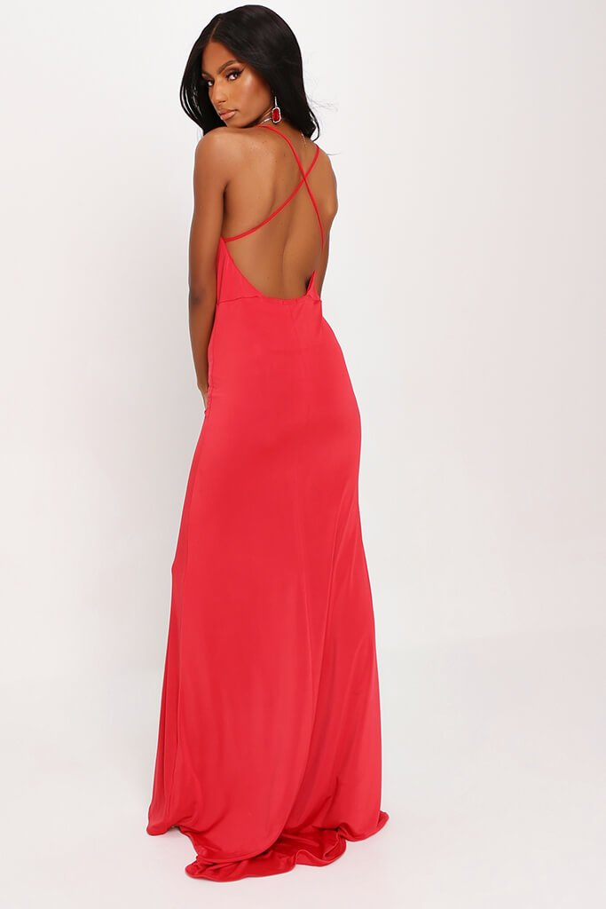 Red Cross Back Fishtail Maxi Dress view 5