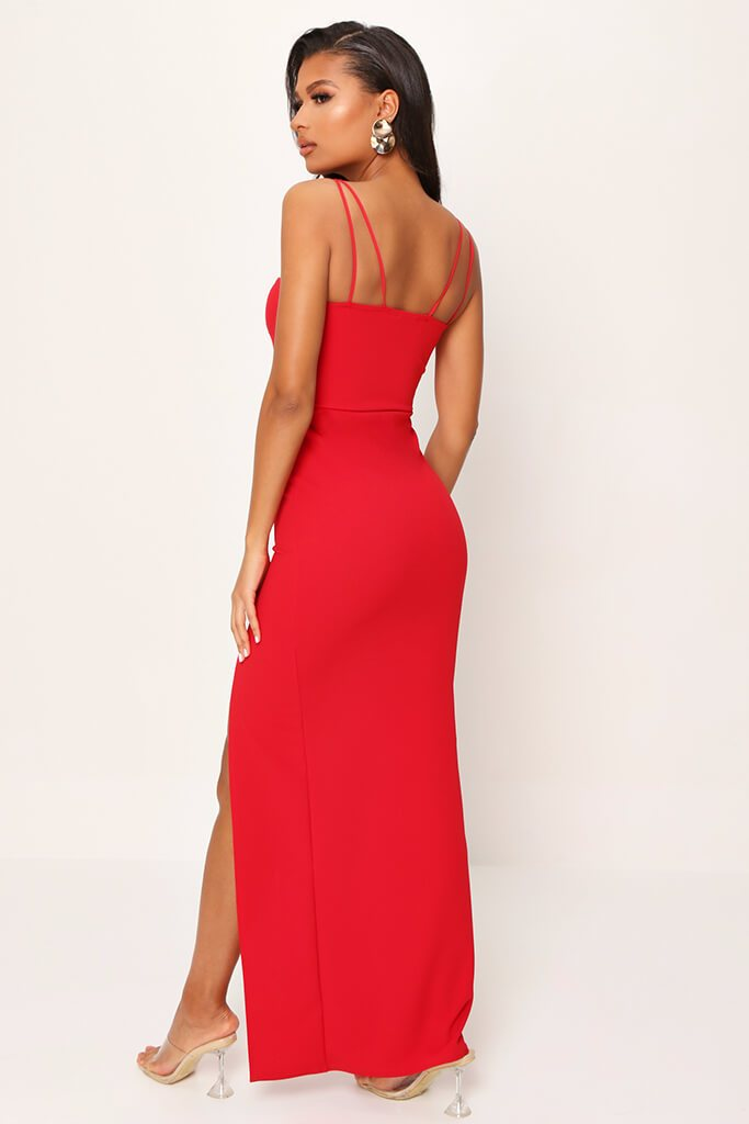 Red Scuba Crepe Sweetheart Double Strap Split Leg Maxi Dress view 5