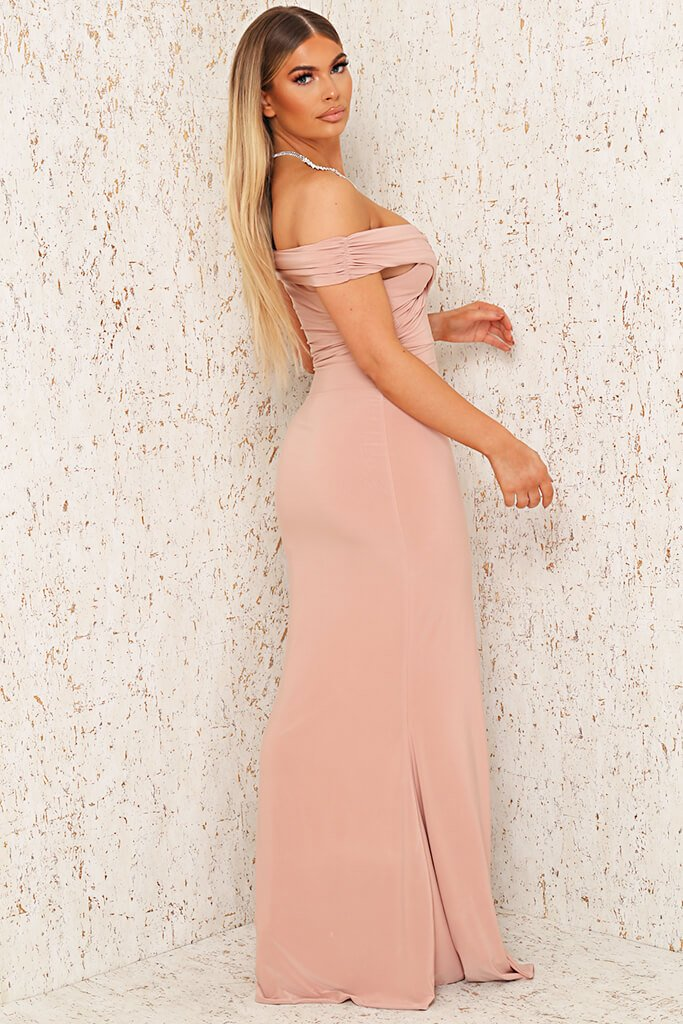 Blush Pink Double Layer Slinky Twist Bardot Fishtail Maxi Dress view 3